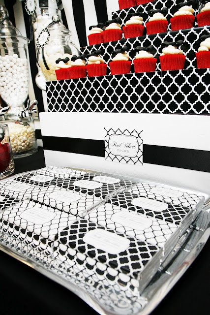 black and white dessert table - love the red and the pattern