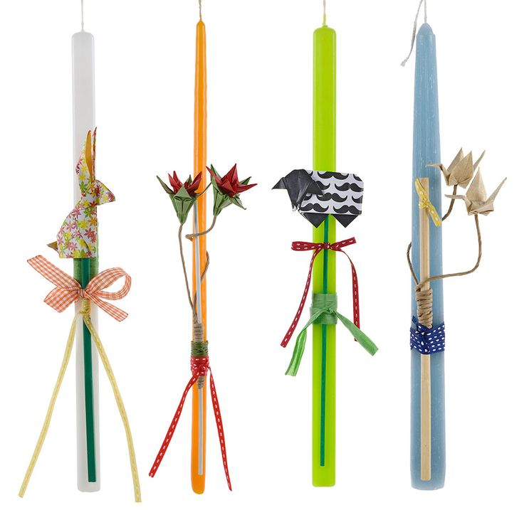 Easter Candle with origami creations, created by Katerina Christoforidi.