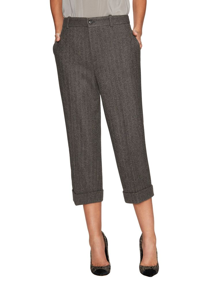 Herringbone Rolled Cuff Straight Pant by Gucci Clothing & Accessories at Gilt
