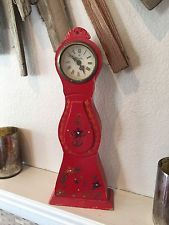 Bostrom Antique Mora Mantel Clock Vintage Swedish Distressed Wood Mid-Cent Label