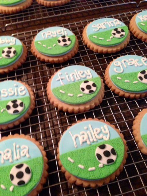 Soccer cookies I enjoyed baking these!
