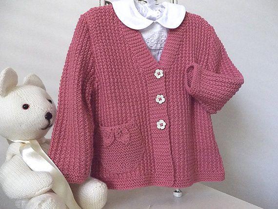 Little girls textured V neck cardigan with detailed pocket/s P050