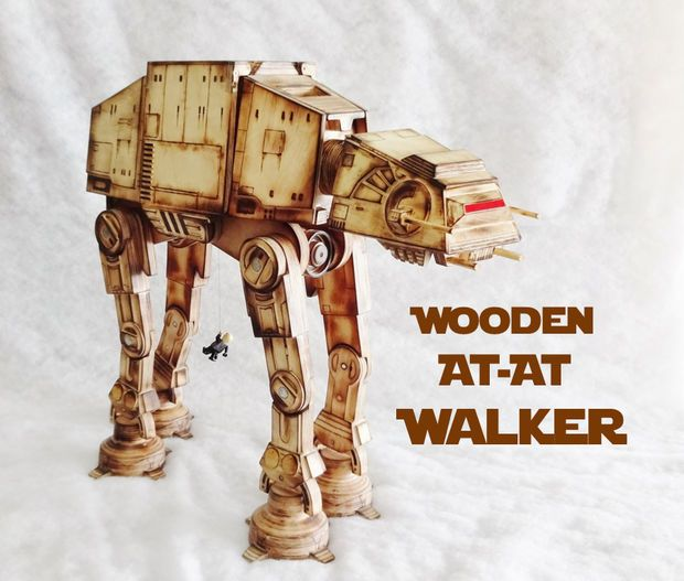 This Wooden AT-AT Walker makes a wonderful and unique DIY Christmas gift idea for kids and Star Wars enthusiasts.