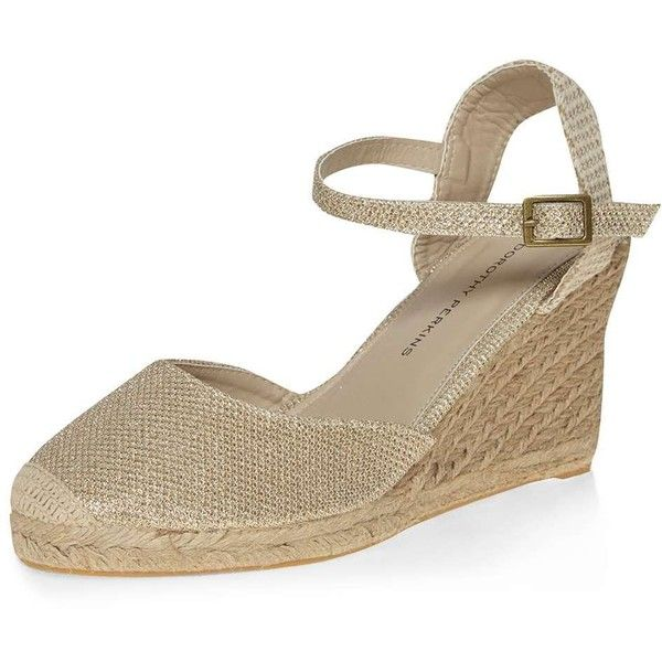 Dorothy Perkins Gold 'Venice' espadrille wedges (€31) ❤ liked on Polyvore featuring shoes, sandals, gold, gold shoes, wedge heel shoes, gold mid heel sandals, wedges shoes and gold wedge shoes