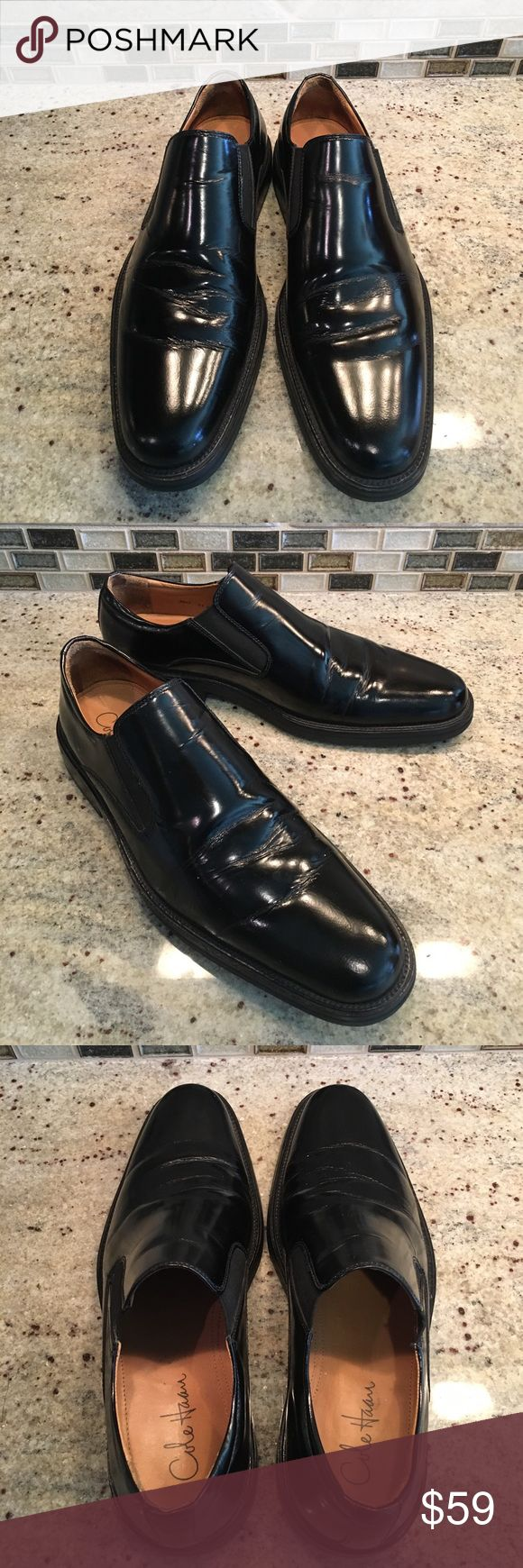Cole Haan Mens Slip On Loafers Leather Dress Shoes Cole Haan Mens Slip On Loafers Leather Dress Shoes Black Size 11.  Water proof.  Great condition. Barely worn. Cole Haan Shoes Loafers & Slip-Ons