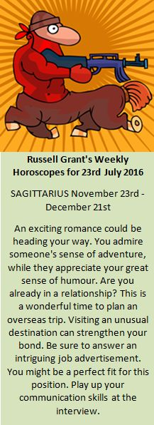 Astrology - Your Sagittarius Weekly Horoscope for 23rd July 2016