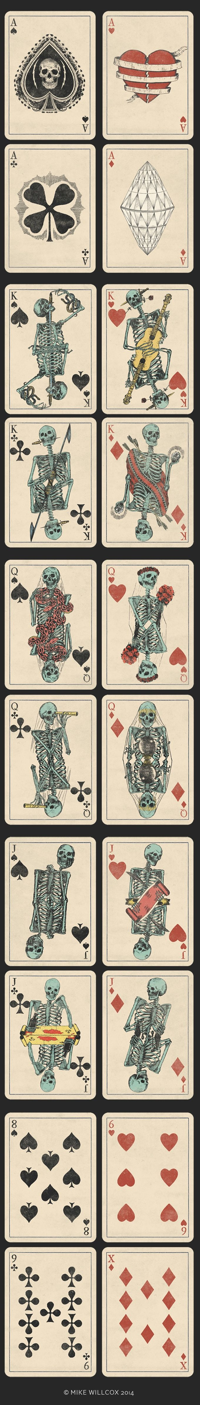 Okay so Queen of hearts... as a tattoo idea....Oh gosh I'm in love!!!!! <3 This is a Deck of Skeletons. Vintage Playing Cards. by Mike Willcox