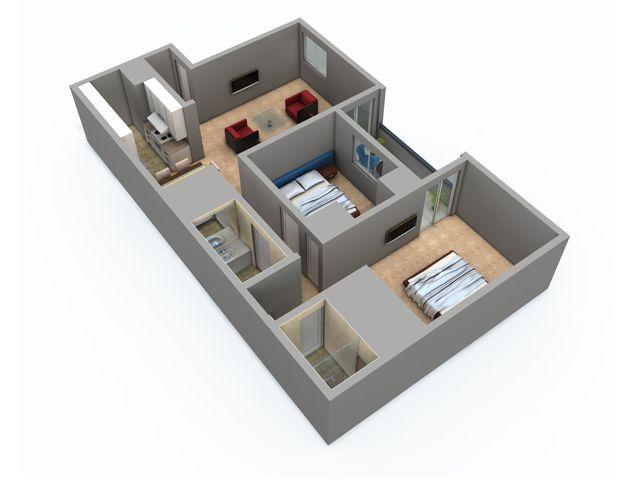 2 Bedroom, 2 Bath Floor Plan With 964 Sq. Feet Of Living Space |