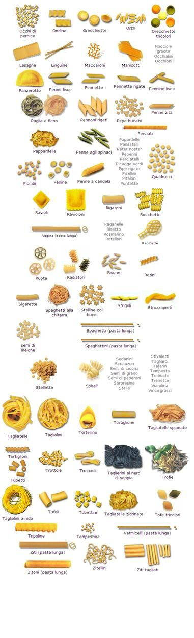 Pasta Shapes and Names | Pasta Shapes | 1000 Things To Do With Pasta - No B.S. University http://www.NOBSU.com