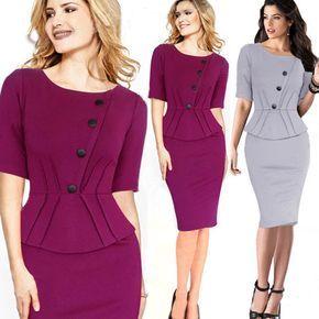 Mujeres baratas visten Vestidos invierno asimétrica OL cuello redondo vestido del vendaje Vestidos del lápiz