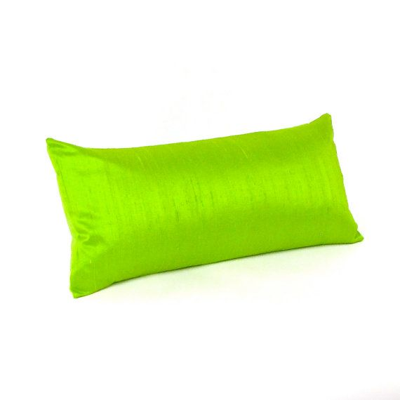 LIme Green Silk Pillow 8 by 17 inch - SMALL GREEN SILK Pillow on Etsy, $39.00