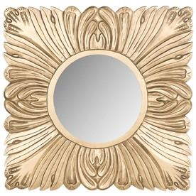 safavieh 28in x 28in gold polished square framed wall mirror mir5001c