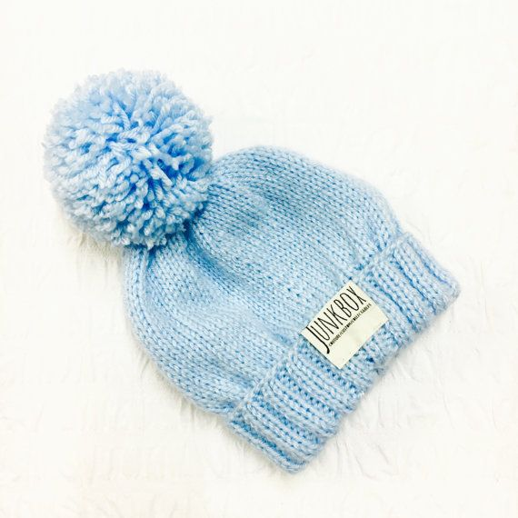 Handknit baby blue UNISEX bobble hat winter hat by JunkboxCouture