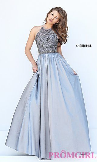 A-Line Long High Neck Halter Prom Dress by Sherri Hill at PromGirl.com