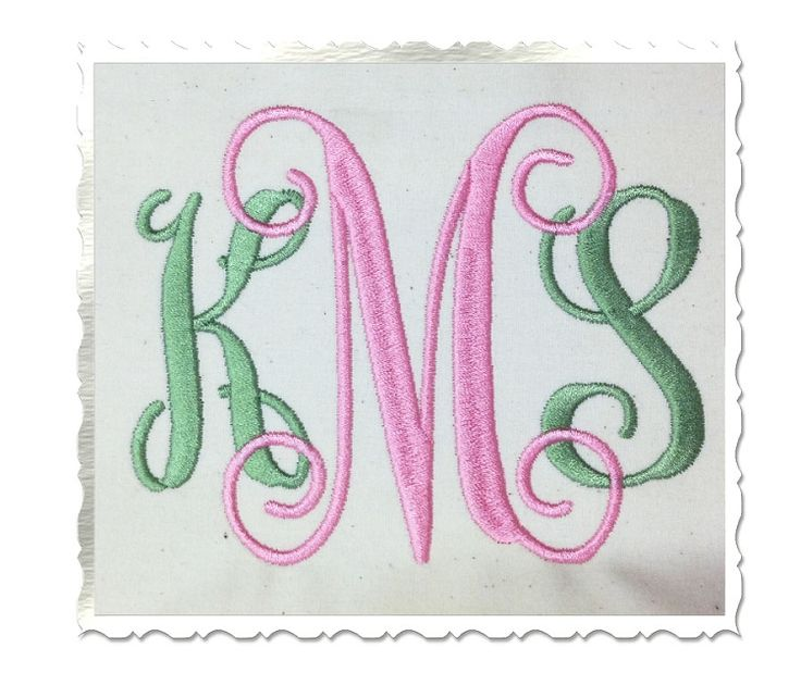 $1.95  4 Inch Size ONLY Vine Monogram Machine Embroidery Font