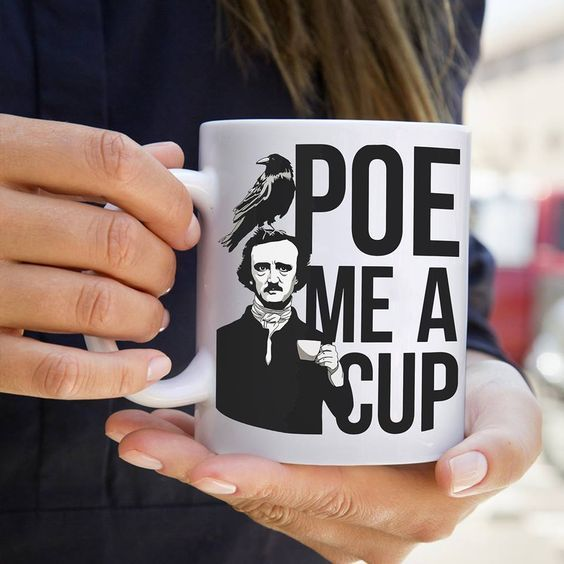 This Edgar Allan Poe mug is a quirky gift idea for friends who love to read... and love their coffee, too.