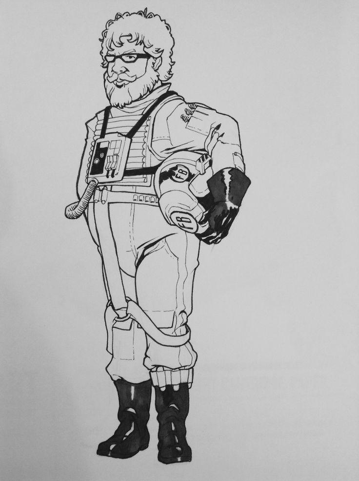 Dave, X-Wing Pilot line art