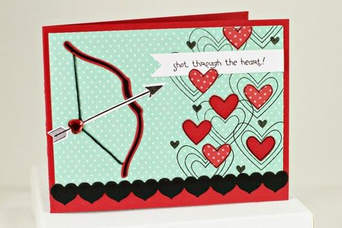more cupid's arrow by erin - love the bow and arrow aiming for all those hearts - and that heart bling!!!