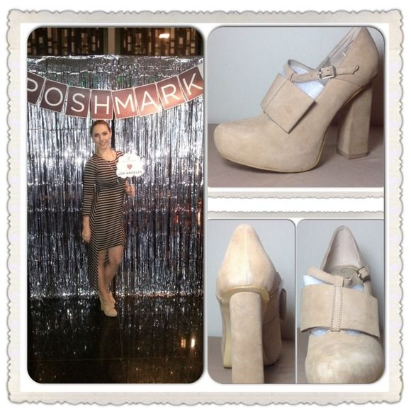 "SALEVogue Nude Suede PlatformPump Suede upper. 3/4"" hidden platform. 4-1/2"" chunky heel Vogue Shoes"