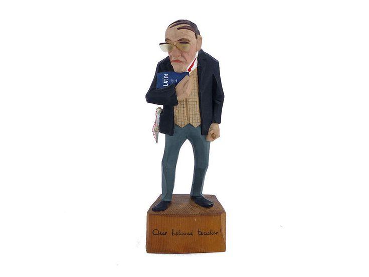 Vintage Wood Figurine, Hand Carved Folk Art Figurine, Jaschke Pretzl Hand Carved Wood Figurine, German Folk Art Figurine, Teacher Figurine by Wilewood on Etsy