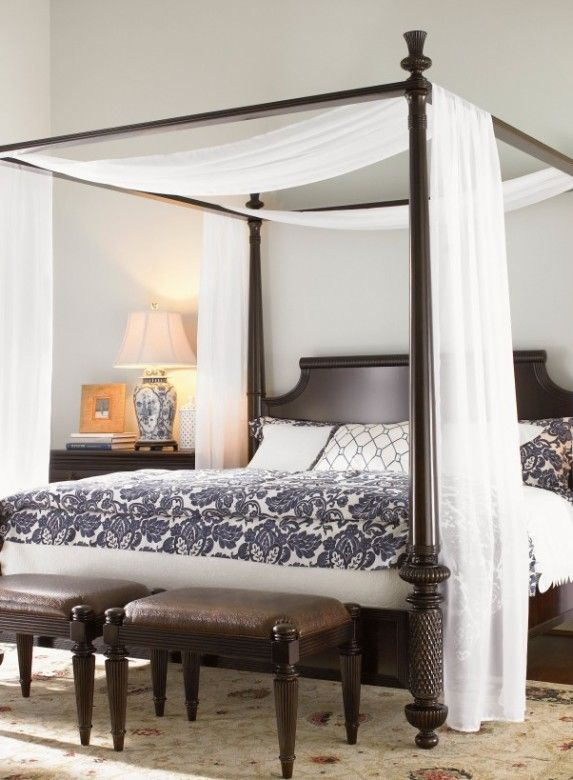 Bedroom Wooden Canopy Bed With Canopy Bed Decoration Black Floral Ornament White Curtains And Bed Double Small Benches Shocking Bedrooms With Canopy Beds That Make You Feel In Heaven