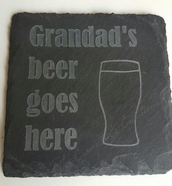 Personalised Grandad/Dad Beer Slate Coaster