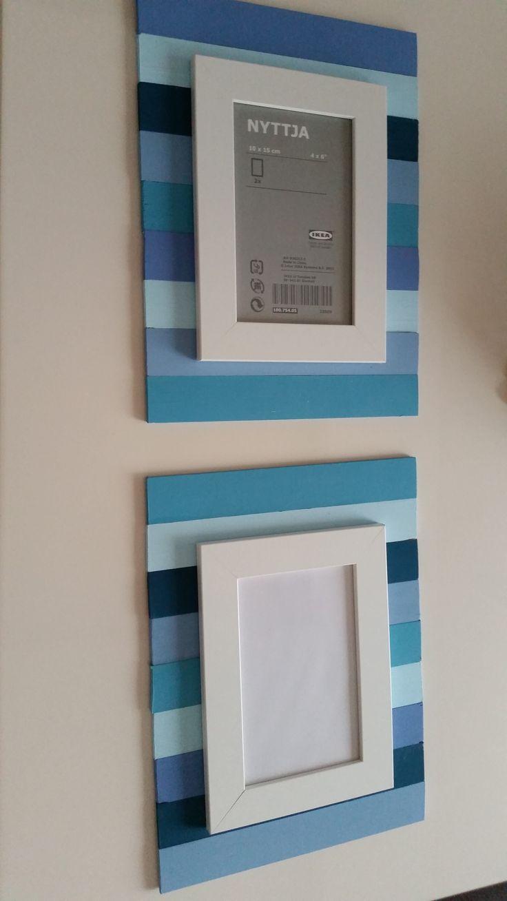 İkea dan aldığım çerçevenin arkasına tahtaları boyayarak fon yaptım.Bende kopya çektim :)