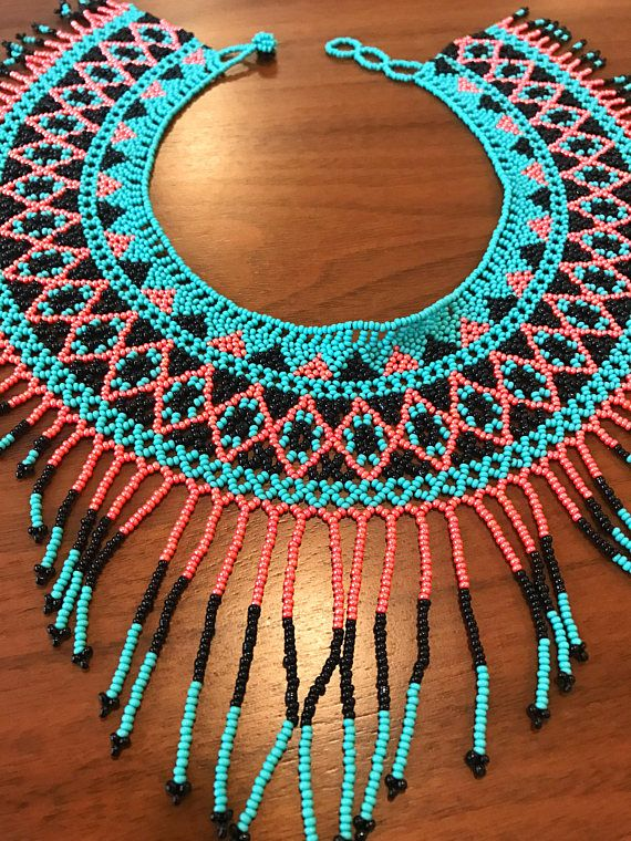 Mexican Beaded Necklace Huichol style / handmade mexican
