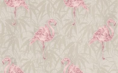 Flamingo (20-281) - Graham and Brown Wallpapers - Striking flamingo design in 2 fun colour ways. Flamingo is a Pink & White Motif vinyl wallpaper. Please request a sample for true colour match. Other colours available.