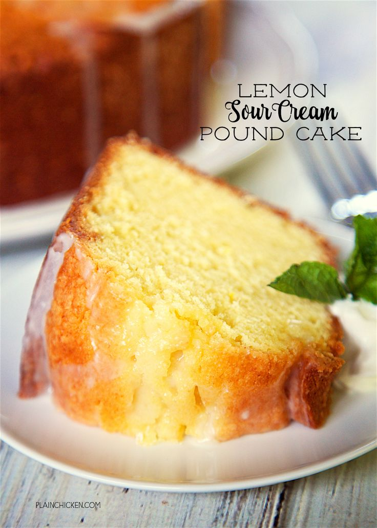 Lemon Sour Cream Pound Cake - the most AMAZING pound cake I've ever eaten! So easy and delicious! Top the cake with a lemon glaze for more yummy lemon flavor. Serve the cake with whipped cream, mint and fresh berries. I took this to a party and everyone asked for the recipe!