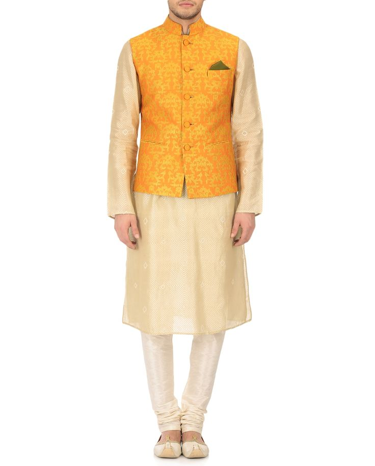 Krishna Mehta Orange Cotton Silk Embroidered Nehru Jacket