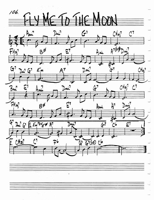 Jazz Standard Realbook chart FLY ME TO THE MOON