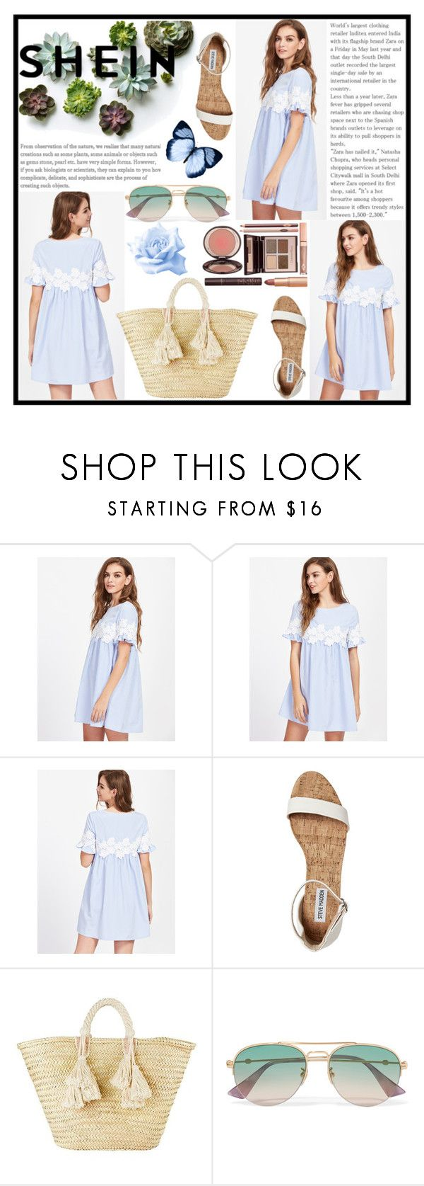"""""""Vestito babydoll a strisce con maniche a volant,con applique in pizzo floreale"""" by manuelsbolli ❤ liked on Polyvore featuring Giselle, Gucci and Charlotte Tilbury"""