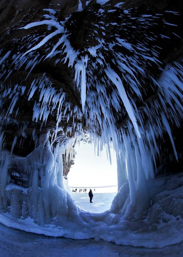 Icicles hang from the Ice Caves of the Apostle Islands National Lakeshore, Wisconsin