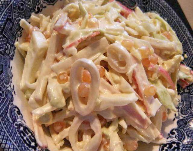 Squid salad, sauerkraut and onions