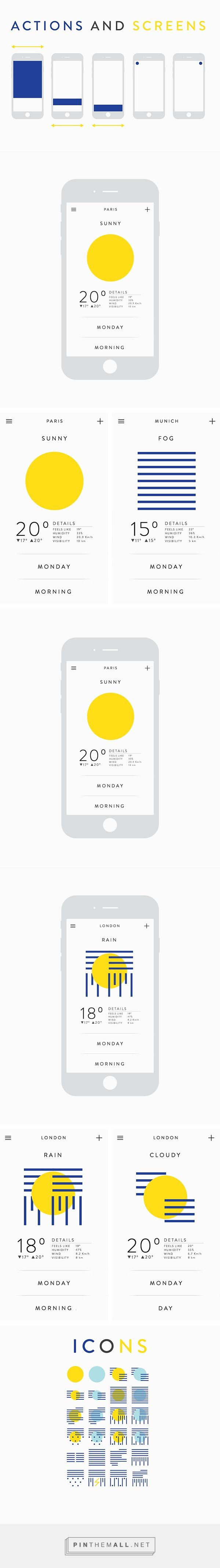 Weather app on Behance https://www.behance.net/gallery/22645245/Weather-app