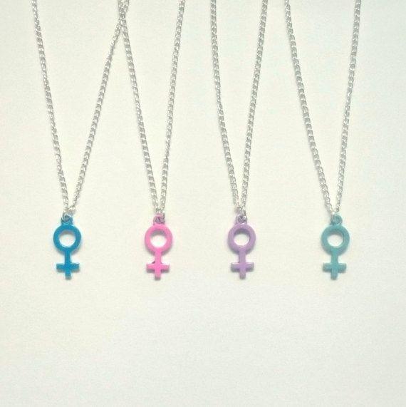 Feminist Necklace, Pastel Venus Symbol Necklace, Feminist Symbol Necklace, Woman Symbol Necklace, Venus Symbol Necklace, Feminist Jewelry