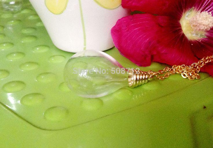 Стекло глобус ожерелье своими руками комплект - 24  позолота цепь и кепка и 18 x 30 мм круг база капля воды прозрачное стекло глобус