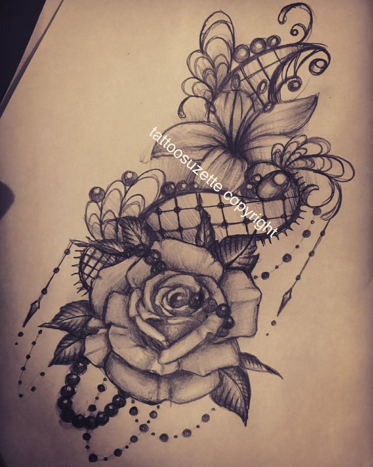 lace flowers tattoo design