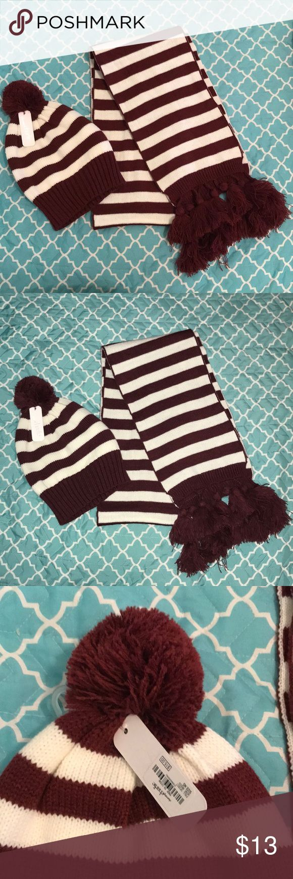 Charming Charlie Hat and Scarf SET This hat and scarf are both 100% acrylic.  The hat is brand new with tags, but the scarf isn't.   The hat has a pompom on top and the scarf has tassles on both ends of the scarf.  They are a maroon and white color.  Offers welcome! Charming Charlie Accessories Scarves & Wraps