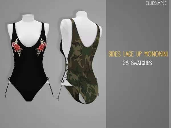 Elliesimple - Sides Lace Up Monokini - The Sims 4 Download - SimsDom