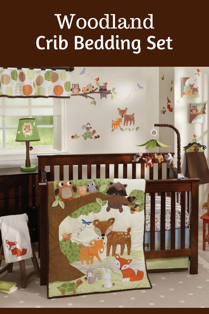 Woodland Letti Per Bambini.Woodland Animals 4 Piece Crib Bedding Set Adds A Whimsical Charm