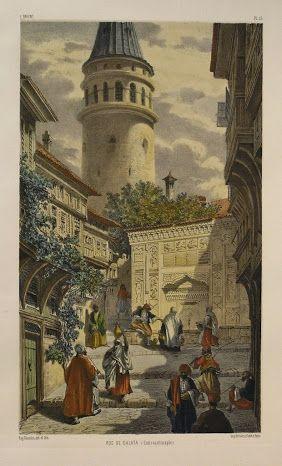 RUE+DE+GALATA,+CONSTANTINOPLE,By+Jean-Baptiste+Eugene+Napoleon+Fladin,Hand+coloured,+Published+by+Gide+&+J.+Baudry,+Paris+1853,Original+antique+lithograph.jpg (282×466)