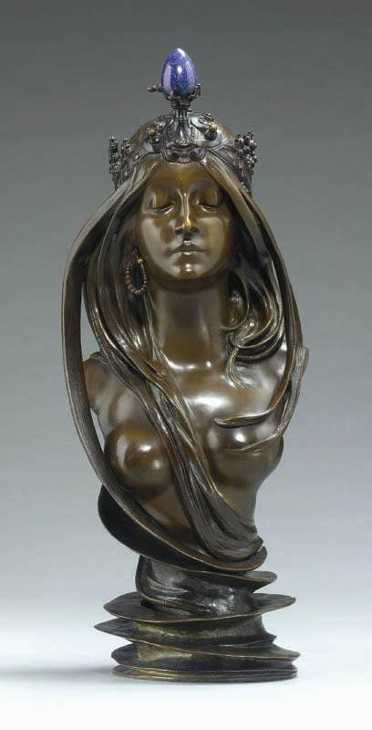 """ALPHONSE MARIA MUCHA'S   """"LA NATURE.""""  """"Mucha exhibited the bronze bust in the Austrian section at the Exposition Universelle in Paris in 1900, and later at the Exposizione Internazionale d'Arte Decorativa Moderna in Turin in 1902."""" Read more here: (http://www.liveauctioneers.com/sothebys/item/195043#)"""