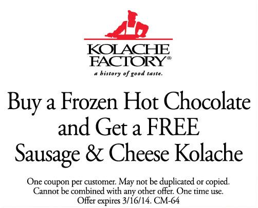 Buy 3 kolaches and get 3 free @ KOLACHE FACTORY