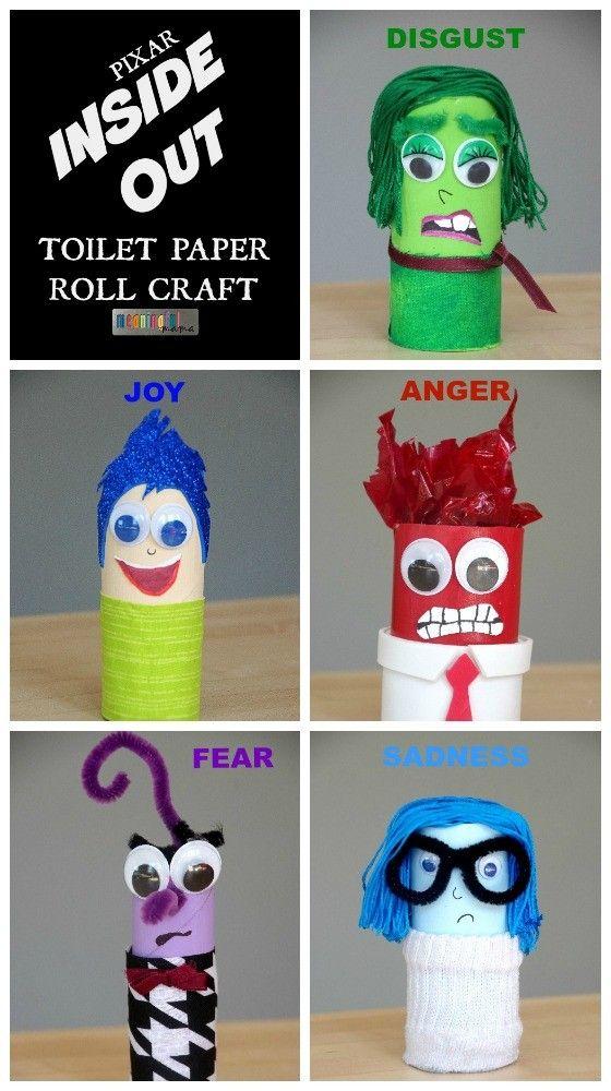 Personajes de la película de Pixar Inside Out (Del Revés) hechos con rollos de…