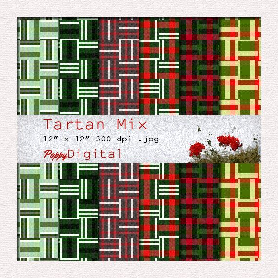 Tartan Digital Paper Pattern Background Texture Overlay - Instant Download - Tartan Mix