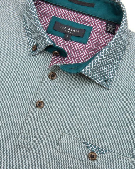 Patterned collar polo - Teal | Tops & T-shirts | Ted Baker UK