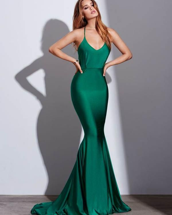 60063f6e1a9 Sexy Green Mermaid Prom Dresses 2018 New Popular Silk Like Satin Prom Party  Gowns Backless