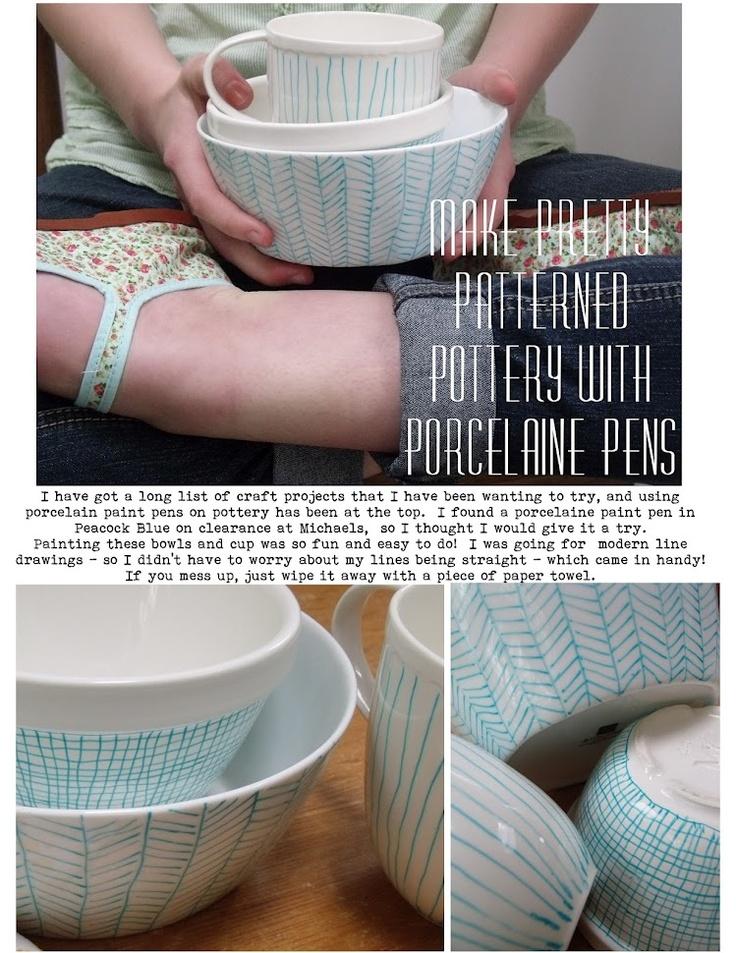 Paint pottery with porcelain pens.